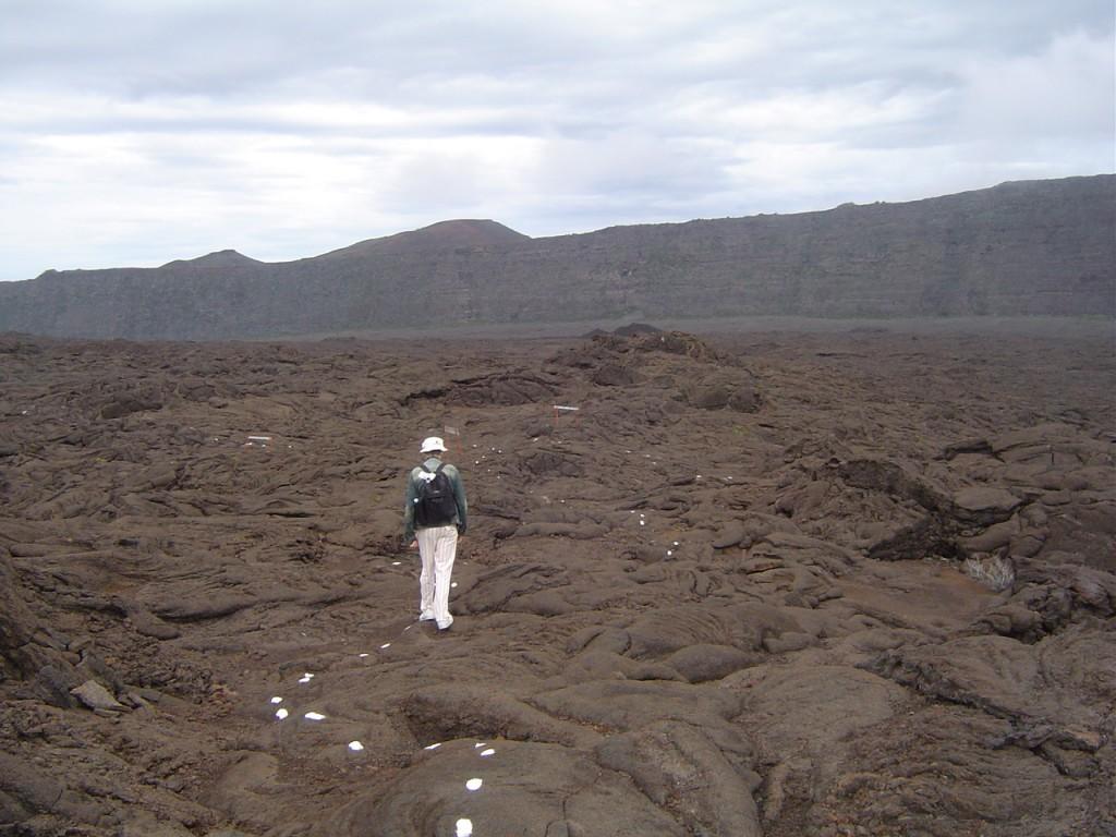 Alors là, eh ben, c'est moi, je suis en train de marcher dans l'enclos du Piton de la Fournaise, ah là là qu'est-ce que c'était beau et saisissant, les marques blanches au sol c'est pour ne pas perdre sa route au beau milieu du volcan. Diapositive suivante, s'il vous plait.